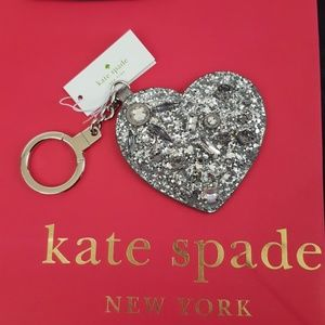 NWT Kate Spade Silver Heart Glitter FOB